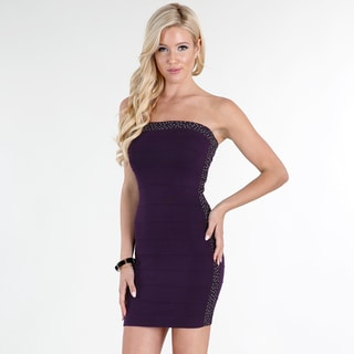 NikiBiki Women's Dark Purple Viscose and Nylon Rhinestone-bordered Sleeveless Sheath Mini Dress