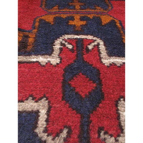 Hand-knotted Bahor Red Wool Rug - 3'5 x 6'2