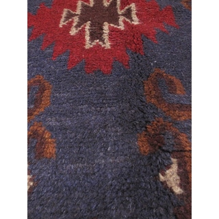 eCarpetGallery Blue/Red Wool Hand-knotted Kazak Area Rug (3'7 x 6'2)
