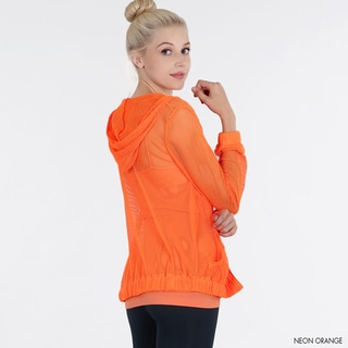 Nikibiki Women's Neon Orange Fishnet Hoody Jacket