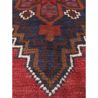 eCarpetGallery Dark-blue/Red Wool Hand-knotted Kazak Rug (3'2 x 6'3)