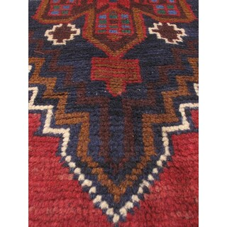 eCarpetGallery Dark-blue/Red Wool Hand-knotted Kazak Rug (3'2 x 6'3)