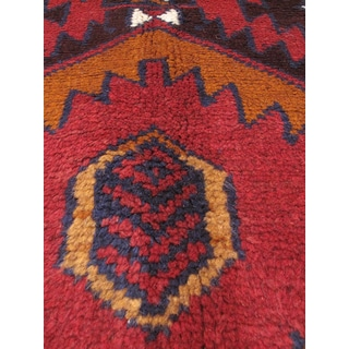 eCarpetGallery Hand-knotted Kazak Orange/Navy/Red Wool Rug (3'3 x 6'5)