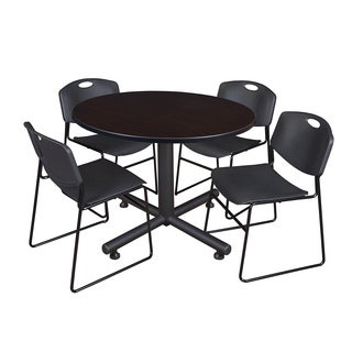 Regency Seating Kobe 48-inch Round Breakroom Table and 4 Zeng Black Stack Chairs