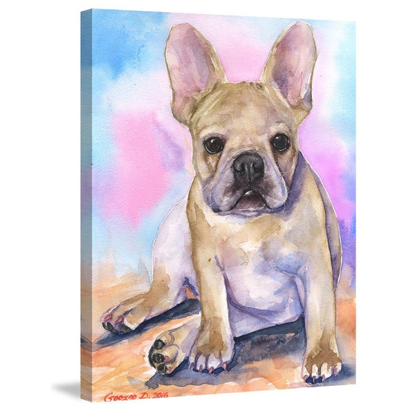 Marmont Hill - 'French Bulldog Puppy' by George Dyachenko Painting Print on Wrapped Canvas