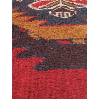 eCarpetGallery Hand-knotted Kazak Red/Brown/Navy Wool Rug (3'5 x 6'1)