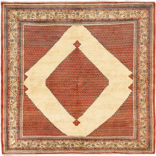 eCarpetGallery Blue/Brown/Copper/Cream Wool/Cotton Hand-knotted Arak Rug (8' x 7'8)
