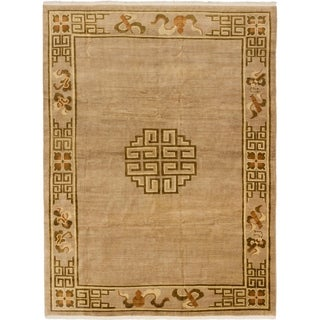 Hand-knotted Vintage Aubousson Beige Wool Rug - 8'4 x 11'0
