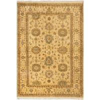 eCarpetGallery Yellow Wool Hand-knotted Royal Ushak Area Rug (5'7 x 8'1)