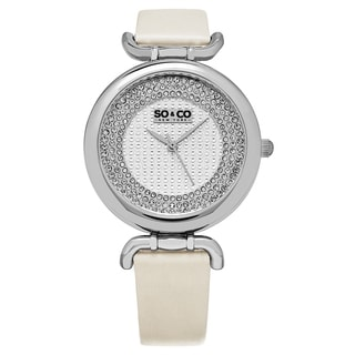 SO&CO New York Women's SoHo Quartz Stainless Steel Crystal Ivory Leather Strap Watch