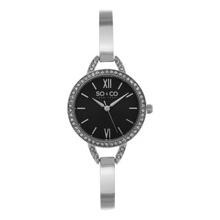 SO&CO New York Women's Black and Silver Stainless Steel and Quartz Crystal Ultra-thin Bangle Watch
