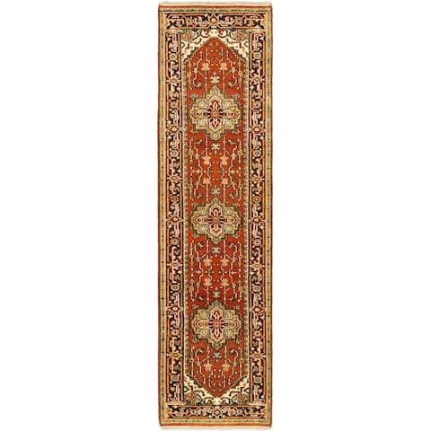 """ECARPETGALLERY Hand-knotted Serapi Heritage Copper Wool Rug - 2'7"""" x 9'10"""" Runner"""