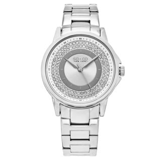 SO&CO New York Women's Madison Stainless Steel Link Crystal Accent Quartz Bracelet Watch