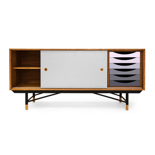 Kardiel 1955 Color Theory Mid Century Modern Gradient Drawers Credenza  Cabinet