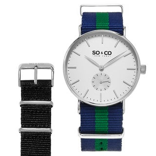 SO&CO New York Men's Madison Canvas Blue and Green Striped Strap Quartz Watch
