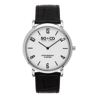 SO&CO New York Men's Madison Black Alligator Leather Strap Quartz Watch