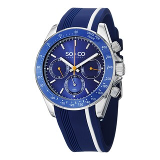SO&CO New York Men's Monticello Blue Silicon Rubber Strap Quartz Watch