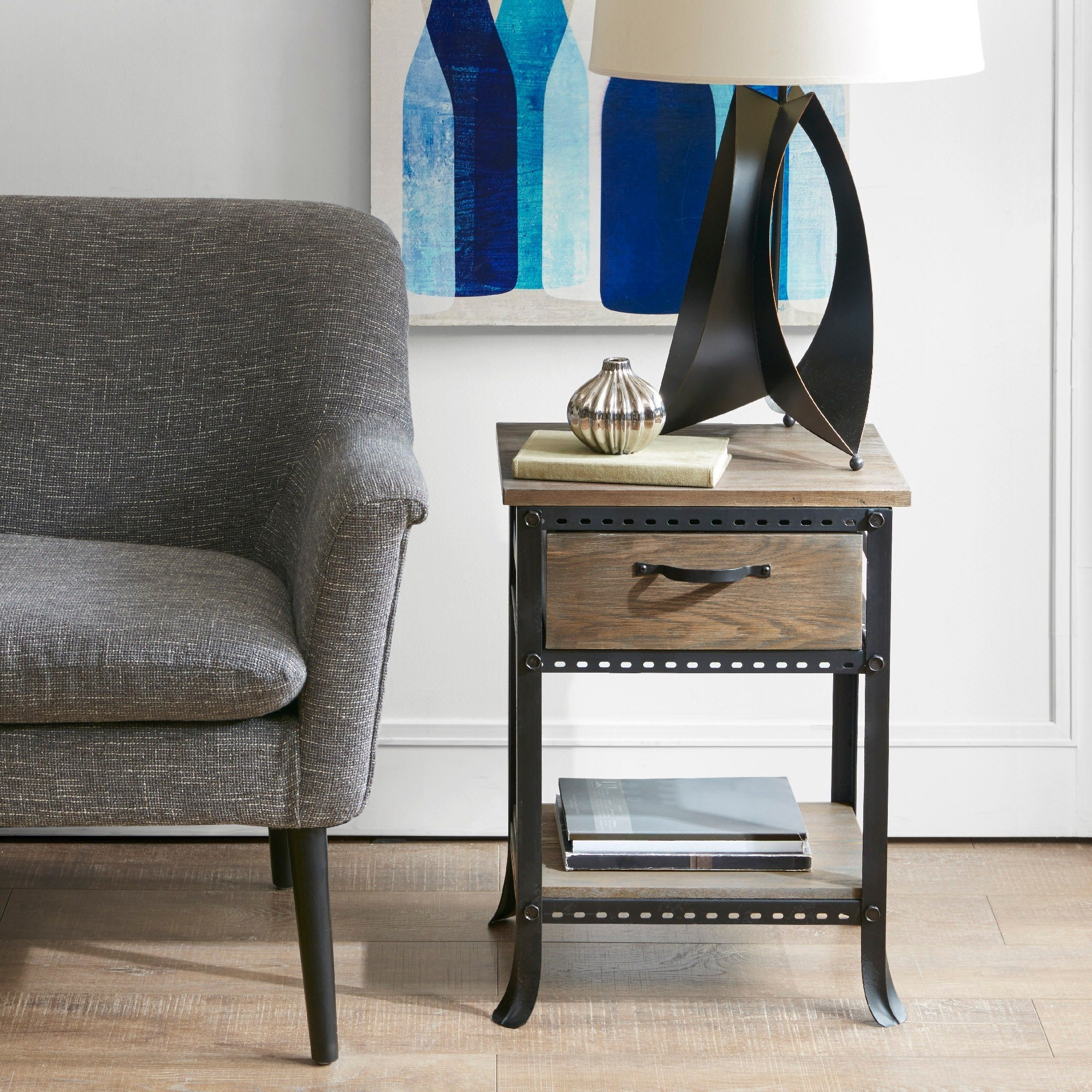 Madison Park Ryder Grey End Table with Drawer (18.88W x 1...