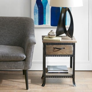 Madison Park Ryder Grey End Table with Drawer