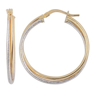 Fremada Italian 14k Two-tone Gold High Polish and Textured Finish Overlapping Hoop Earrings