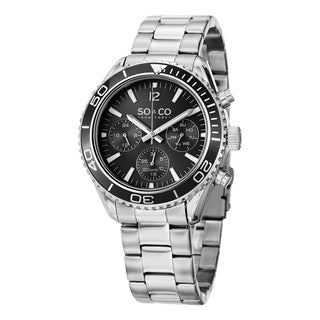 SO&CO New York Men's Stainless Steel Quartz Yacht Timer Unidirectional Link Bracelet Watch