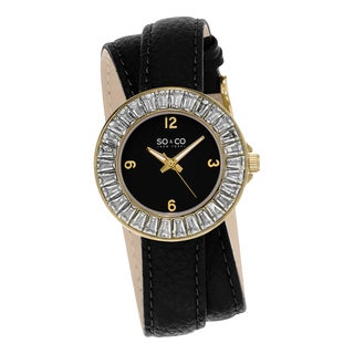 SO&CO New York SoHo Black Leather/Stainless Steel Double Wrap Strap Women's Quartz Watch