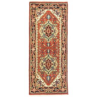 eCarpetGallery Copper/Cream/Turquoise Wool/Cotton Hand-knotted Serapi Heritage Runner Rug (2'5 x 5'10)