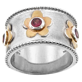 Meredith Leigh 14k Yellow Gold and Sterling Silver Rhodolite Flower Band