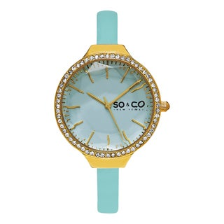 So & Co New York Women's Quartz SoHo Crystal Light Green Leather Strap Watch