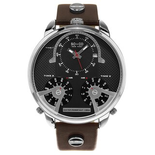 SO&CO New York Men's Triple Time Brown Leather Strap Quartz Watch