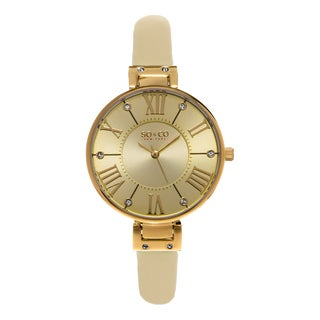 SO&CO New York SoHo Studio Edition Women's Champagne Leather Strap Quartz Crystal Watch
