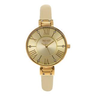 SO&CO New York SoHo Studio Edition Women's Champagne Leather Strap Quartz Crystal Watch
