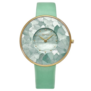 So & Co New York Women's Quartz SoHo Crystal Light Green Satin Leather Strap Watch
