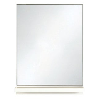 Selections by Chaumont White Glass and MDF Contemporary Shelf Bathroom Mirror