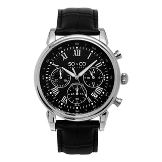 SO&CO New York Men's Monticello Black Leather Strap and Stainless Steel Chronograph Quartz Watch
