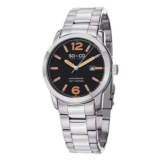 SO & CO New York Men's Madison Silvertone/Orange Stainless Steel Link Bracelet Watch