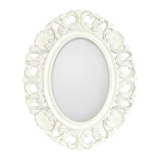 Casa Antique White Ornate Oval Mirror