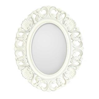 Casa Antique White Ornate Oval Mirror