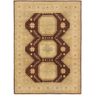 eCarpetGallery Brown/Ivory Wool Hand-knotted Peshawar Oushak Area Rug (9'0 x 12'6)
