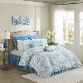 Madison Park Olivia Blue 9-piece Seersucker Duvet Cover Set