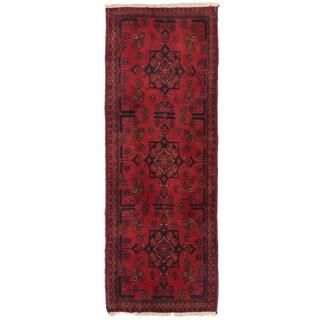 eCarpetGallery Finest Khal Mohammadi Black/Red Wool Hand-knotted Oriental Runner Rug (1'8 x 4'8)