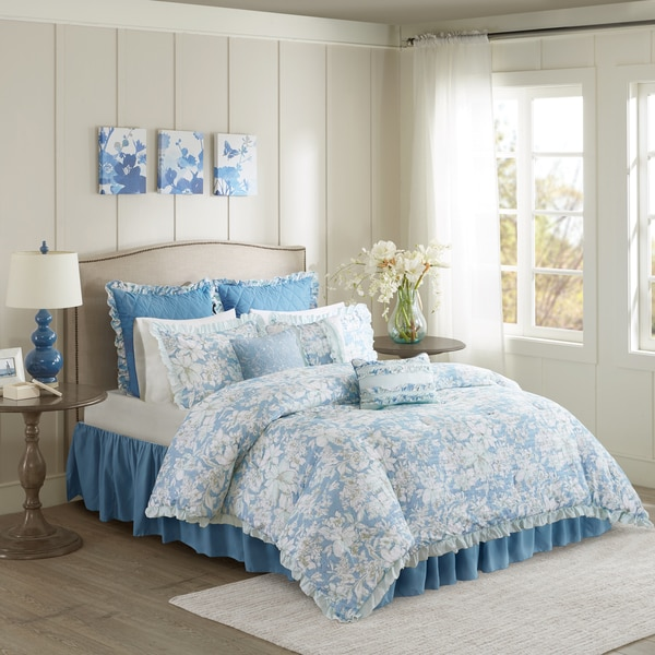 Madison Park Olivia Blue 9-piece Seersucker Comforter Set