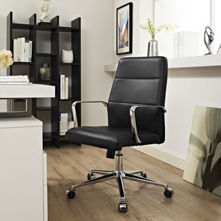 Modway Black Aluminum/Steel Stride Mid-back Office Chair with Vinyl Upholstery