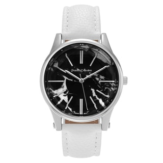 Journee Collection Women's Round Marble Print Dial Faux Leather Strap Watch