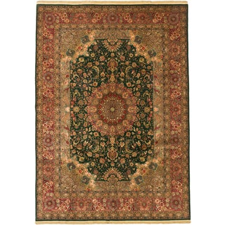 eCarpetGallery Tabriz Green/ Pink Wool and Viscose Hand-knotted Oriental Area Rug (8'8 x 12')