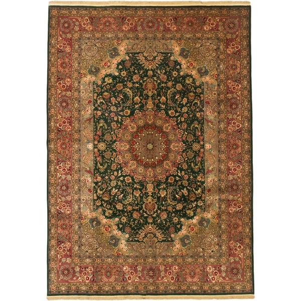 Shop ECarpetGallery Tabriz Green/ Pink Wool And Viscose