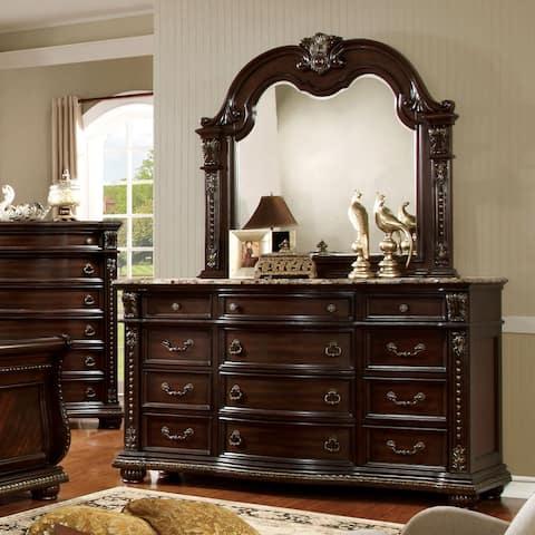 Furniture of America Dame Cherry 2-piece Dresser and Mirror Set