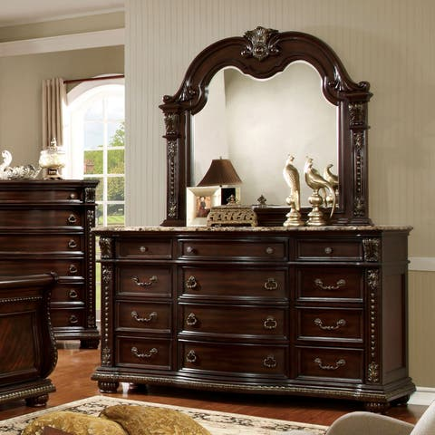 Goodwell Traditional Cherry 2-piece Dresser and Mirror Set by FOA