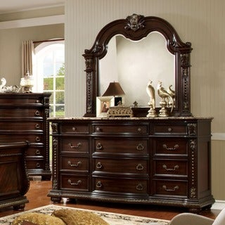Furniture Of America Goodwell Traditional 2 Piece Brown Cherry Marble Top  Dresser And Mirror Set