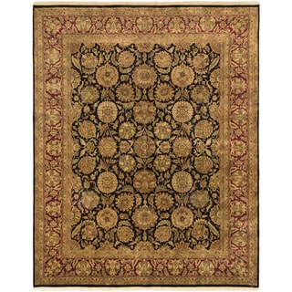 eCarpetGallery Jamshidpour Black/Red Wool/Cotton Hand-knotted Rug (8'1 x 10'1)